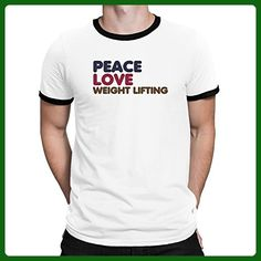 Teeburon PEACE LOVE Weight Lifting Ringer T-Shirt - Workout shirts (*Amazon Partner-Link)