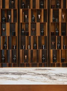 For the new product line, the brand experiments in the world of precious and original materials, in the quest for an exclusive perfection. Architecture Restaurant, Restaurant Design, Cubby Storage, Wine Storage, Storage Ideas, Wine Shelves, Shelving, Shelf Design, Wall Design