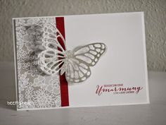 """handmade card from Stampin with Beemybear ... luv the lacy butterfly die cut from silver glimmer paper ... Stampin"""" Up!"""