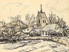 Jannes de Vries -Toren van Baflo, 1958, inkt, pen, gewassen