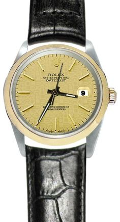 Gorgeous black leather rolex datejust watch brown stick dial