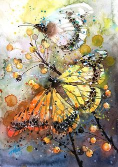 "Watercolor Artists International - Contemporary Fine Art International: Butterfly Art Painting Watercolor ""Butterfly"" by Georgia Artist Pat Warren Butterfly Painting, Butterfly Watercolor, Butterfly Art, Alcohol Ink Painting, Alcohol Ink Art, Collage Art, Art Projects, Original Paintings, Art Prints"