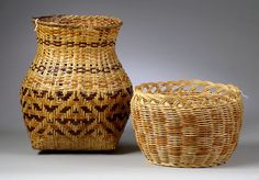 Cherokee Baskets, 2002 American Indian Decorative Arts. A river cane, twill plaited basket made by eastern Cherokee, Qualla Boundary, North Carolina, with brown, tan, and neutral geometric designs, and a basket from the western Cherokee in Oklahoma, of double woven wicker with scalloped rim