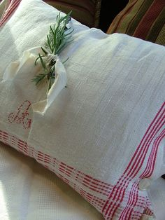 After I make pillow cases I can take some to get monogramed. I could save blank ones and have them custom monogramed for a guest who visits, then they can take it home and remember the visit; love the rosemary on the pillow.