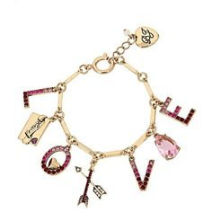Betsey Johnson Hearts And Arrows Love Charm Bracelet (1,005 EGP) ❤ liked on Polyvore featuring jewelry, bracelets, red, initial charm bracelet, heart charm, antique gold charm bracelet, lobster claw clasp charms and charm bracelet bangle
