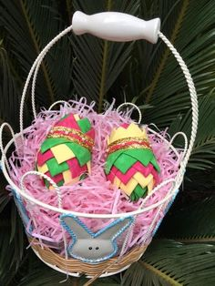 Complete No-Sew Ornament Kit- Easter Eggs- Purple/ Pink. Quilted Easter Egg kit. Folded Fabric Ornaments.  Contains everything need to make 2 no-sew easter eggs, including fabric, pins, ribbon, styrofoam, and color pattern. Great holiday family craft idea.
