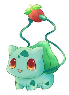 Bulbasaur w/ strawbery. Honestly, bulbasaur and his evolutions are my favorite pokemons. This particualr artwork is a very cute version of him. I like how he is holding the strawberry and the little star on his forehead is a cute little addition to his markings.
