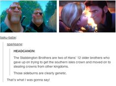 Frozen / Tangled crossover - The Stabbington brothers are two of Prince Hans' older brothers.