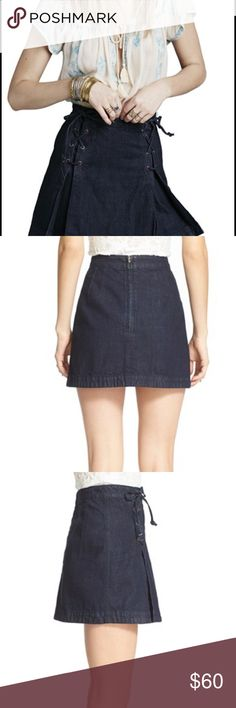 Free People Brand new lace up denim skirt Free people denim skirt, just bought recently, size 2, a little bit large for me, brand new without tag, just tried, never worn. The quality is pretty good. Free People Skirts