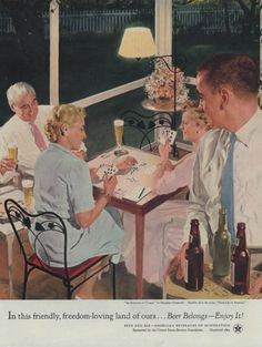 An Evening of Cards by Douglass Crockwell Beer Belongs ad 1954 WHC