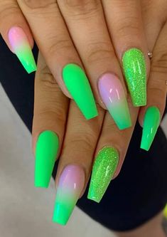 Trending And Chic Ombre Coffin Nails Design For You In 2019 Summer The ombre coffin nails design are so perfect for 2019 spring and summer! ombre coffin nails design are so perfect for 2019 spring and summer! Best Acrylic Nails, Acrylic Nail Designs, Nail Art Designs, Nails Design, Acrylic Nails Green, Green Nail Designs, Neon Nails, My Nails, Matte Nails