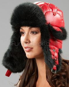 Womens Faux Fur Bubble Trapper Hat - Black