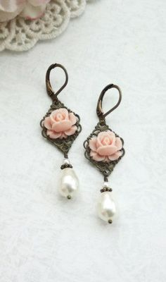Bridesmaids? - Soft Blush Pink Rose Bud Flower Ivory Pearls etsy.com
