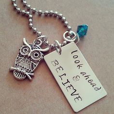 Hand Stamped Look Ahead & Believe Necklace by HippieSwankBoutique, $28.00