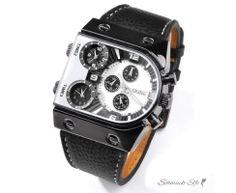 Männer Uhr GLOBE WHITE Leder Armband schwarz mit 3 Uhrwerken
