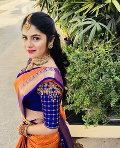 Our pretty client for her beegara oota ! Wedding Saree Blouse Designs, Half Saree Designs, Pattu Saree Blouse Designs, Silk Saree Blouse Designs, Fancy Blouse Designs, South Indian Blouse Designs, Seda Sari, Stylish Blouse Design, Designer Blouse Patterns