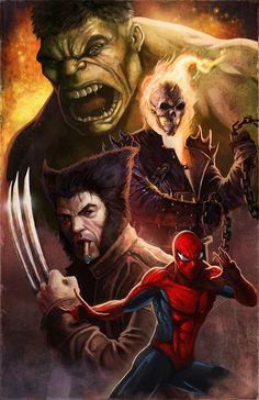 Hulk, Ghost Rider, Wolverine, and Spider-Man ~ Fantastic Four
