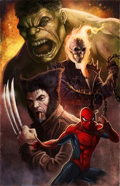 Hulk, Ghost Rider, Wolverine, and Spider-Man ~ Fantastic Four