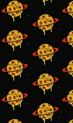 Pizza Planets Wallpaper