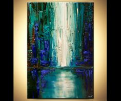 """Modern palette knife abstract city painting Teal Blue Impasto Paint ORIGINAL Contemporary by OSNAT 40""""x30"""""""