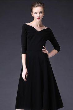 V-Neck Elegant Long Black Dress