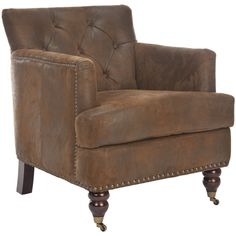 Diamond-tufted arm chair with brass nailhead trim and a wood frame. Product: Chair Construction Material: Wood, foam and polyester Color: Brown Features: Diamond-tuftedNailhead trim Dimensions: H x W x D Leather Club Chairs, Accent Furniture, Furniture Ideas, Furniture Chairs, Gray Furniture, Smart Furniture, Living Room Chairs, Living Rooms, Living Spaces