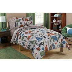The Mainstays Kids' Camping Bed-in-a-Bag provides all the pieces necessary to update a bedroom for an outdoor lover in one package. The comforter and shams include camping images, while the sheets and pillowcases provide a trendy mixed-print look that coo Teen Boy Bedding, Sports Bedding, Flat Sheets, Bed Sheets, Kids Camping Bed, Camping Bedroom, Family Camping, Camping Tips, Little Boys Rooms