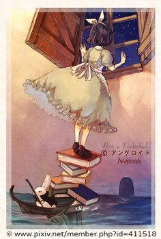 アリス / Alice in Wonderland, 2009 © アンゲロイド / Angeroido via pivix.net, Japan. Manga. In the room flooded by the pool of tears, Alice stands atop a precarious stack of books aboard a tiny rowboat manned by the White Rabbit in order to peer out the window. She has yet to shrink small enough to go out the tiny garden door - pfb :-) ... Give credit where due. Help an artist get established (It ain't that easy!) Pin/Link directly to the artist's website.