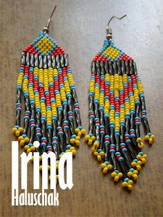 seed bead earring, art, craft. handmade, DIY, beadwork, red, blue, yellow, black, Ukraine, http://irina-haluschak.blogspot.com/