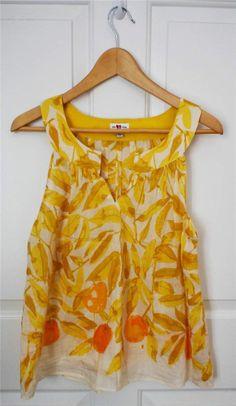 ANTHROPOLOGIE WE LOVE VERA sz 6 SPLIT NARCISSUS yellow white silk blend top #Anthropologie #WeLoveVera $35