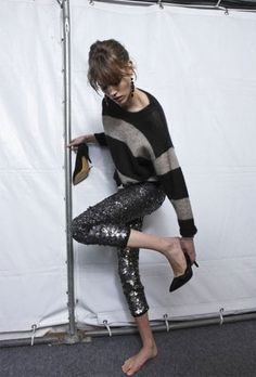 Freja Beha Erichsen backstage at Isabel Marant Fall 2010 Ready-to-Wear Looks Chic, Looks Style, Style Me, Isabel Marant, Look Legging, Sequins And Stripes, Wide Stripes, Stripe Top, Baggy Pants