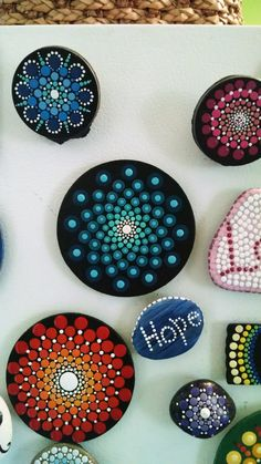 Wood Magnet~Hand Painted by Miranda pitrone~ Mandala Cirlces ~ Dot Art Rings~Home Decor~Dot Art~ Dotillism Mandala Painting, Pebble Painting, Dot Painting, Pebble Art, Mandala Art, Stone Painting, Stone Crafts, Rock Crafts, Painted River Rocks