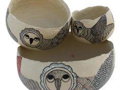 Painted Paper Mache Bowl (Set of 3)