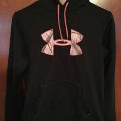 RARE Under Armour Black with Pink Camo Hoodie Perfect condition!  Women's Tackle Twill Camo logo. Under Armour Tops Sweatshirts & Hoodies