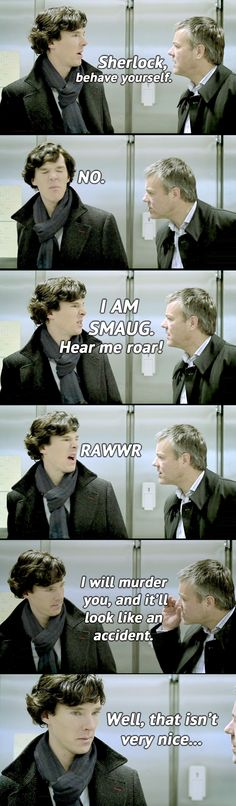 Awwww poor Sherlock. Lestrade, get ahold of yourself. Being a weird hunter man in Doctor Who has messed with your head.