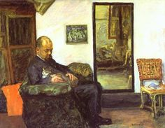 Pierre Bonnard, Ambrose Vollard and his cat, oil on canvas, 1904.