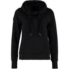 Naketano BLACK REORDER Hoodie ($75) ❤ liked on Polyvore featuring tops, hoodies, black, pattern hoodie, print hoodies, print hoodie, cotton hoodies and black top