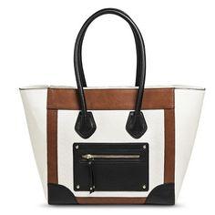 Women's Color Block Tote Handbag - Ivory