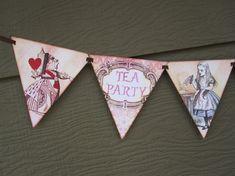 Tea Party Flag Pennant Banner (Alice in Wonderland)