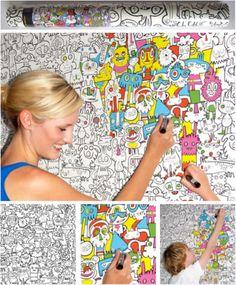 101 Kids Deco - Jon Burgerman Colour In Wallpaper