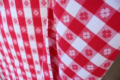 Red Gingham Tablecloth Checked Red and White by losttreasures2u