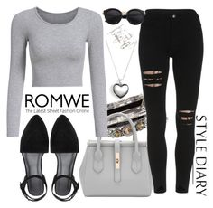 """""""romwe17"""" by mila96h ❤ liked on Polyvore featuring New Look, Pandora, Topshop and romwe"""