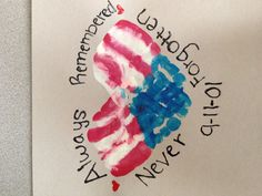 Cute remembering 9-11 craft to do with kids and their hand prints to make a heart