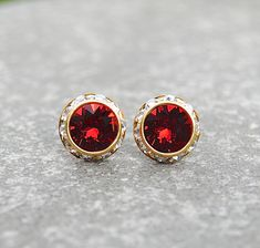 Red Diamond Earrings Swarovski Crystal Ruby Red Stud by MASHUGANA, $18.50