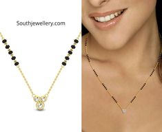 Check out these latest sleek and fancy mangalsutra designs with simple diamond pendants by Candere. These short and stylish nallapusalu necklace designs are suitable for daily wear as well as for office wear. Fancy Jewellery, Indian Jewellery Design, Jewelry Design, Bead Jewellery, Fashion Jewellery, Jewelry Rings, Jewelery, Modern Mangalsutra Designs, Diamond Mangalsutra