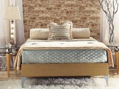 wall inspo whitegray brick wallpaper accent at head of bed wall