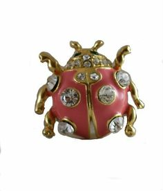 Beautiful Pink Crystal Accented Ladybug Pin/Brooch Gold Tone