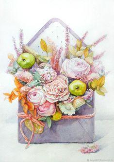 Wedding Illustration, Watercolor Illustration, Watercolor Flowers, Watercolor Paintings, Pocket Letter, Autumn Art, Art Club, Amazing Flowers, Botanical Prints
