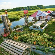 """Petey's Summertime Seafood and Bar RYE Petey's sits on an inlet, so decks, porches, and picnic tables provide breezy views of the Atlantic and a salt marsh. The restaurant boasts, """"We catch our own lobsters,"""" and the crustaceans show up all over the menu—"""