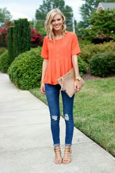 I like the flowy top with short sleeves paired with skinny jeans and heels for a date or girl's night.